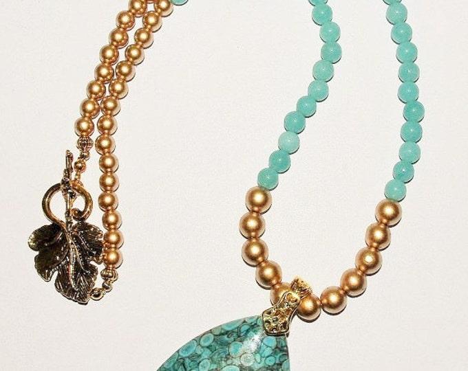 Aventurine Gemstone Necklace with Turquoise Pendant  - S2372