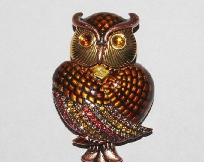 Joan Rivers Brown Owl Brooch - S1239