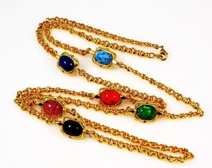 Jackie Kennedy Gemstone Necklace , Gold Plated with Stones - #253