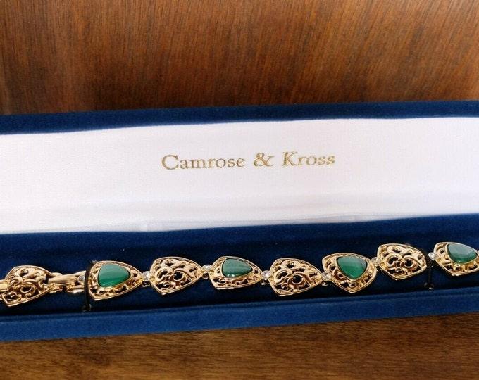 Jackie Kennedy Malachite Bracelet in Gold. Size 7 or 8 - No. 261