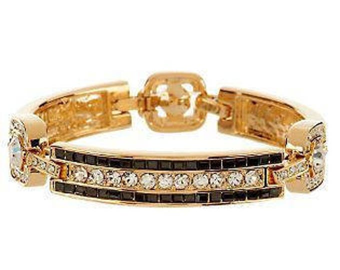Jackie Kennedy Black Baguette Bracelet - Gold and Black Bracelet with Crystals - Size 7 to 8 - #69