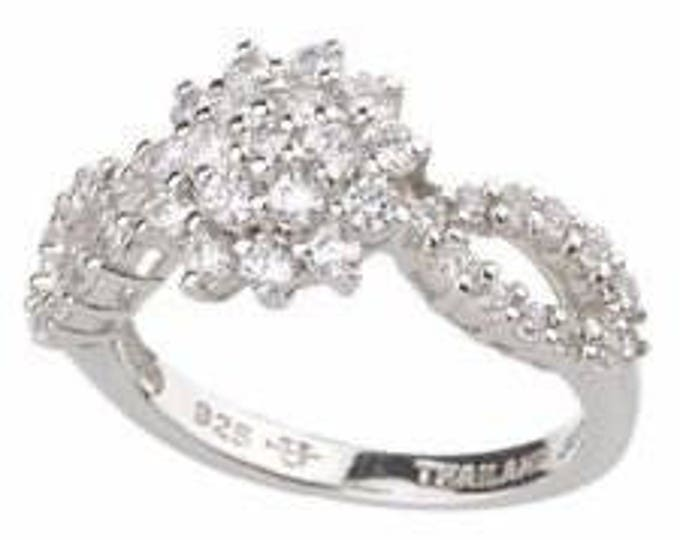 Jackie Kennedy Monte Carlo Ring in Silver with Simulated Diamonds
