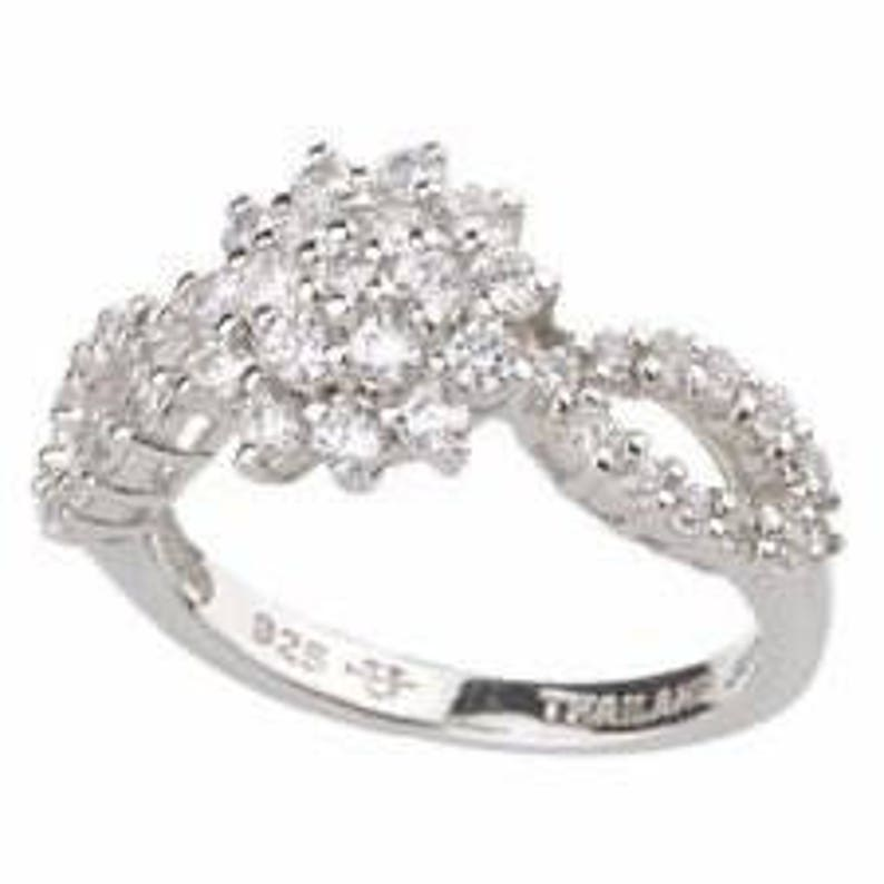 Jackie Kennedy Monte Carlo Ring in Silver with Crystals image 0