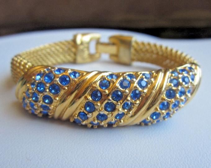 Jackie Kennedy Gold Bracelet - Gold Mesh Bracelet with Sapphire Stones -- 65