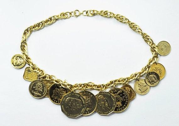 Franklin Mint Necklace - Golden Caribbean Coins