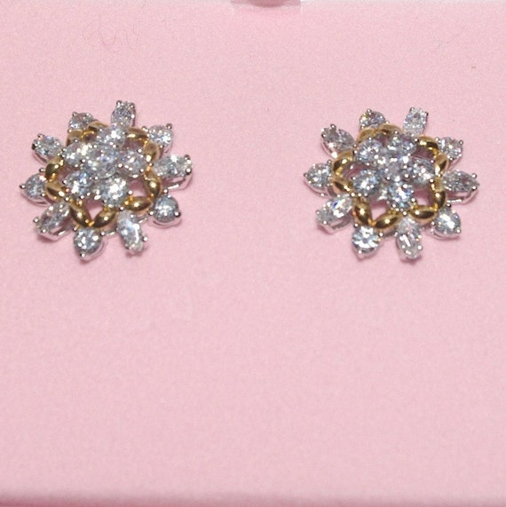 Audrey Hepburn Earrings,- Crystal with Gold Accent