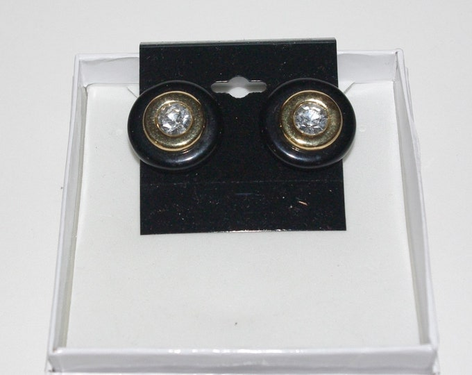 Kenneth Lane Black Earrings with Crystals - Clip On Earrings - S2479