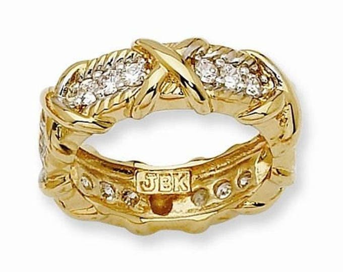 Jackie Kennedy Unity Ring - Gold Ring with Simulated Diamonds - Eternity Band Ring