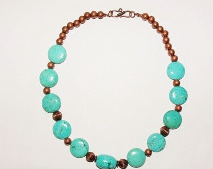 Genuine Turquoise and Copper Necklace - S2363