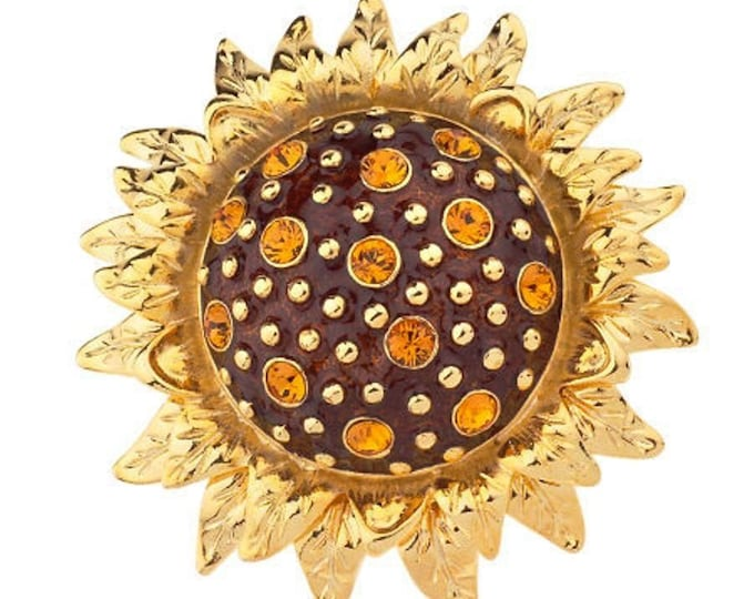 Jackie Kennedy Brooch - Gold with Enameling and Stones - JBK SUNFLOWER BROOCH -  305