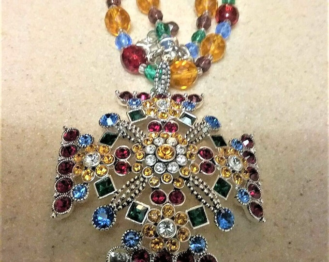 Joan Rivers Maltese Cross Necklace - Gold Necklace with Stones - S1520