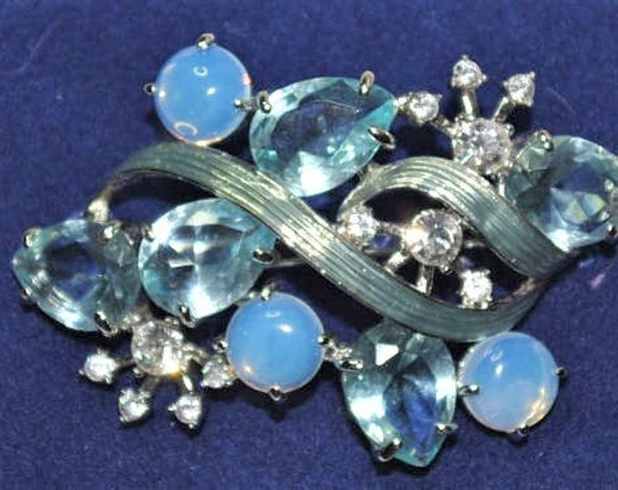 RARE Jackie Kennedy Morning Mist Brooch - Silver with Blue Stones - #228
