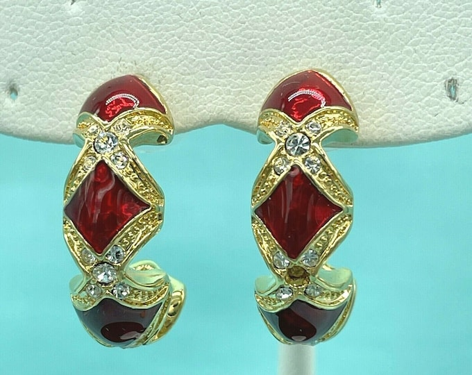 Audrey Hepburn Earrings - Gold with Red Enamel and Stones - Pierced