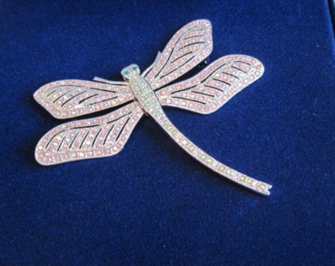 Jackie Kennedy Dragonfly Brooch - Silver with Stones - No. 274