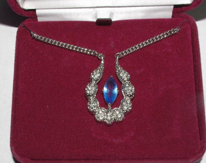 Jackie Kennedy Silver Necklace with Floating Blue Stone and Crystals - #191