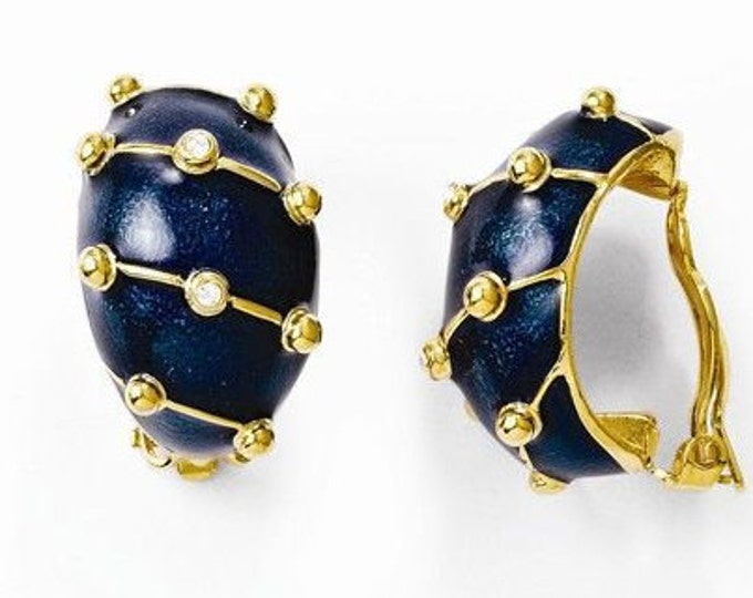 Jackie Kennedy Gold Earrings with Navy Blue Enameling - Clip On - 271