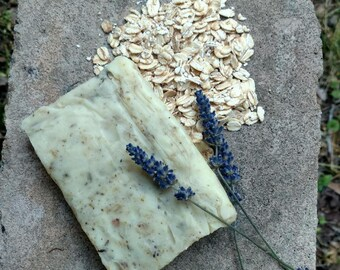 All Natural Lavender oatmeal Soap, coconut oil and Shea butter
