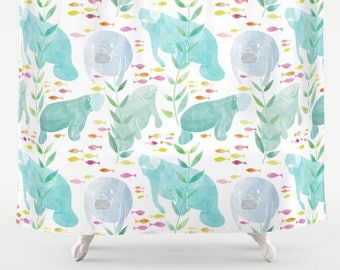 Manatee Shower Curtain   Watercolor Manatees And Fish Shower Curtain, Aqua,  Pastel Blue, Pale Blue Tropical Shower Curtain
