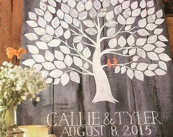 Alternative Guestbook Wedding Tree Family Tree Rustic Wooden Palette Painting Gray White Coral Lovebirds Typography Summer Decoration