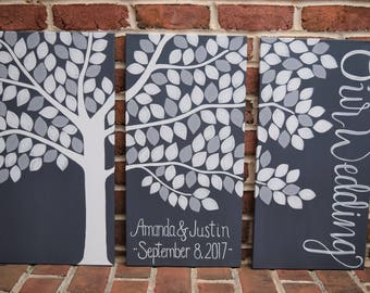 Alternative Guestbook Tree Large Wedding Tri Panel Family Tree Canvas Guest Book Custom Wedding Guestbook Idea Keepsake
