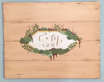 Wedding guestbook, alternative guestbook, wooden palette, rustic decor, signatures, succulents, minimalist, customize, initials, handpainted