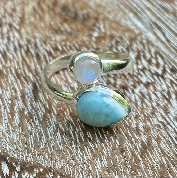 Larimar and Rainbow Moonstone Crystal Ring
