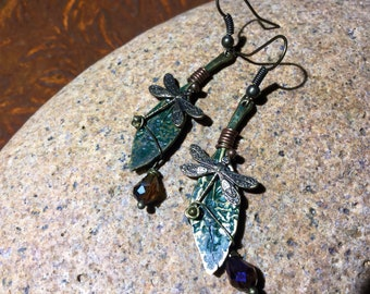 Dragonfly, wirewrapped hoho, rustic, dangle earrings