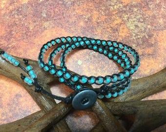Boho leather beaded wrap Bracelet