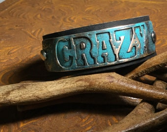 Leather cuff pendent crazy bracelet