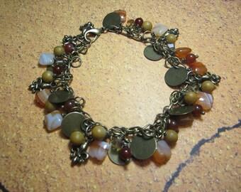 Fleur- De- Lis Brass Charm, Coin,and Natural Stone Charm Bracelet