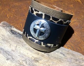 Mens Cross , biker, rocker, rustic,Cuff bracelet