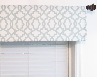 modern window valance bathroom modern window valance sheffield snowy blue gray navy choose the color size geometric gray natural summerland custom etsy