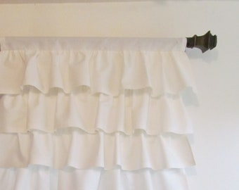 Custom Shabby Chic Tiered Curtain Panel White Tier Nursery Cafe One 25 Width You Choose The Length
