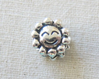 Smiling Sun or SunFlower - European Style, Big Hole Bead