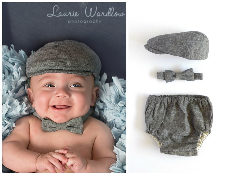 Boy baby gift set black linen hat bow tie and bloomer set  a666b0481468
