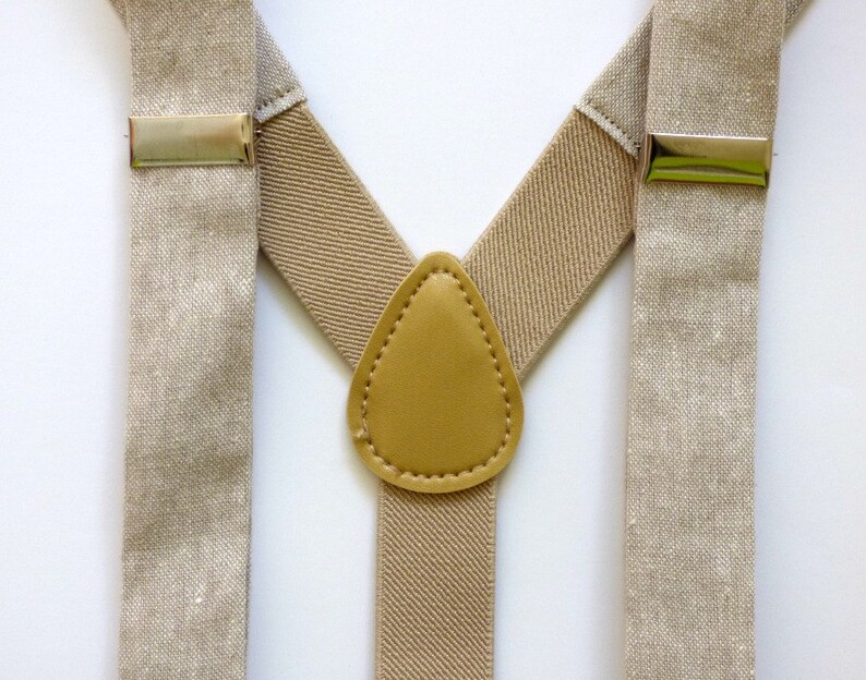toddler boy ties and suspenders Khaki linen necktie and suspenders kids necktie made to order boy baby Easter outfit