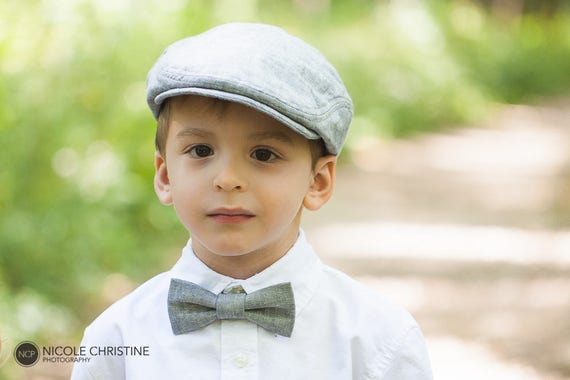 Kids newsboy hat and bow tie gray linen newsboy cap gray  a897055c2d5