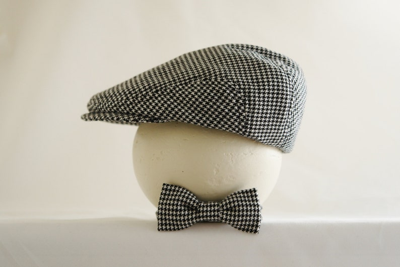 Houndstooth suiting material newsboy hat and bow tie set baby  fc8554ba353e