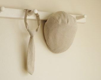 Khaki seersuker baby boy prop set, Khaki flat cap and necktie spring baby photo prop necktie set -  made to order