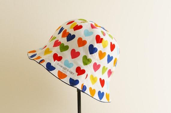 Baby girl sun hat - heart print cute denim reversible summer hat - made to  order 182d3ff4f21a