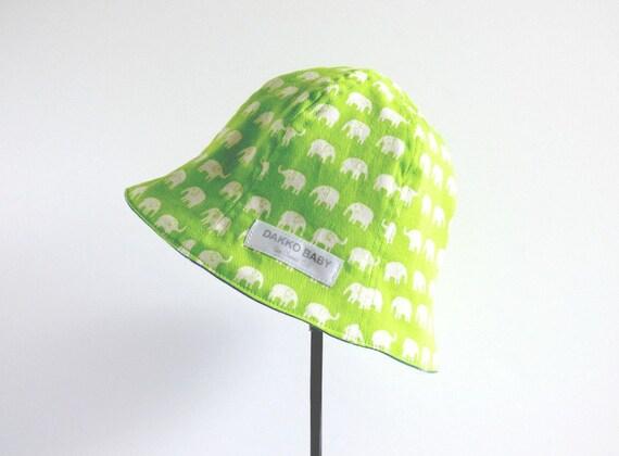 Lime green boys sun hat elephant print boy toddler summer  99db6b5524c1