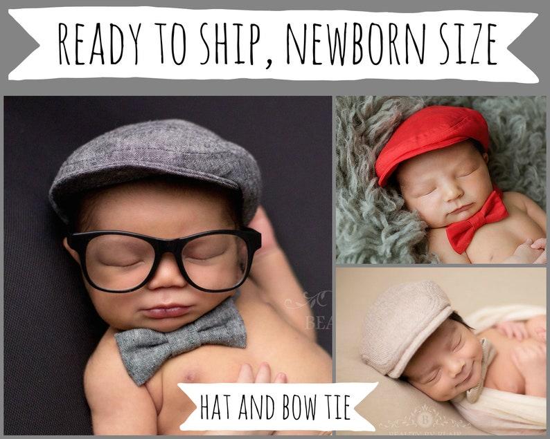 Newborn boy photo prop baby hat and bow tie boy baby photo  dbc5dc3410af