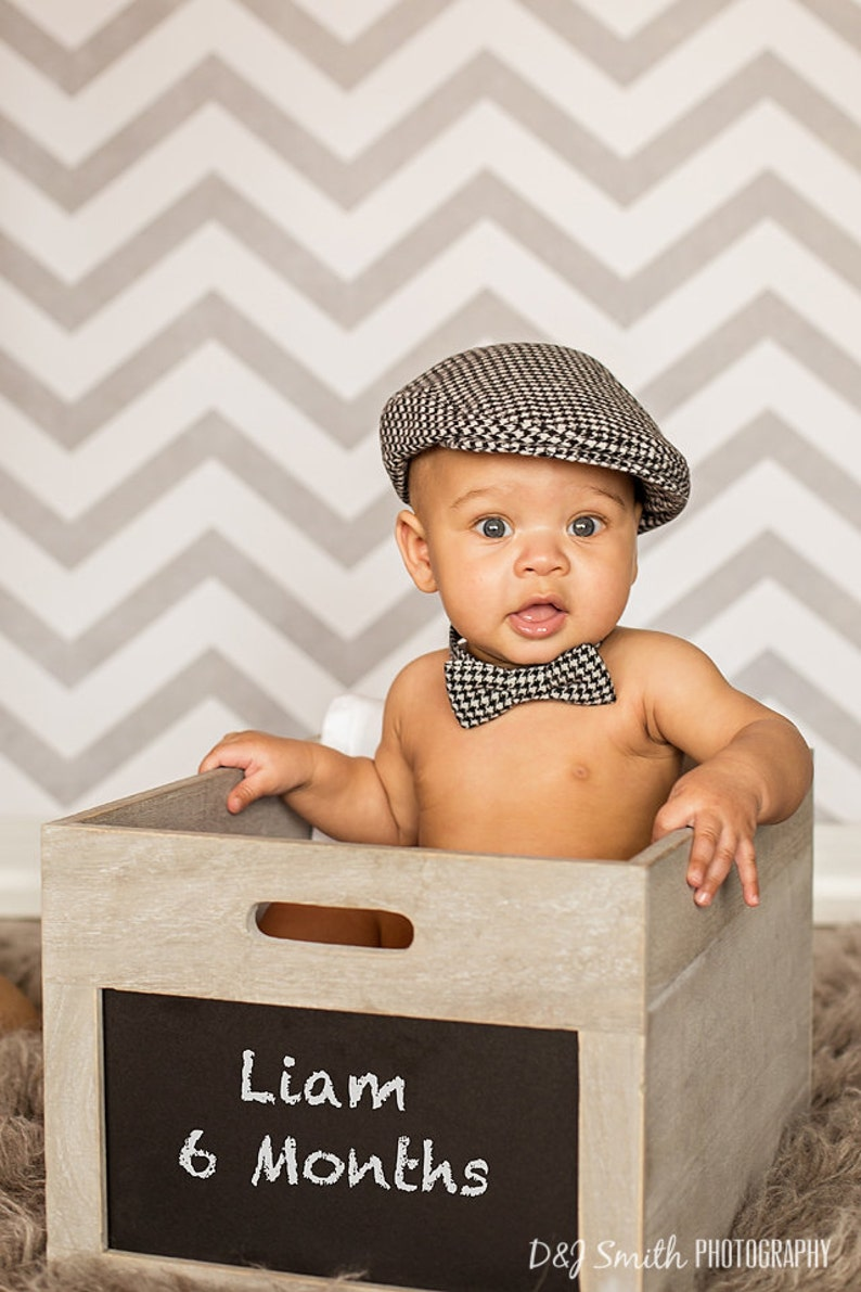 b17b99cebd2 Baby boy photo prop outfit hat and bow tie set houndstooth