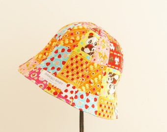Baby girl sun hat, baby sun hat, Japanese kawaii fabric print sun hat, denim sun hat , baby summer hat - made to order