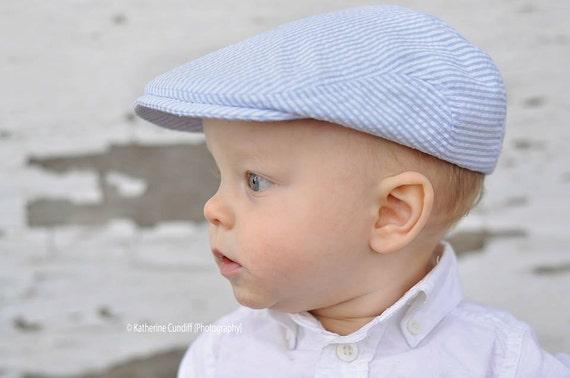 Baby hat seersucker newsboy hat light blue seersucker hat  cee1b36588b
