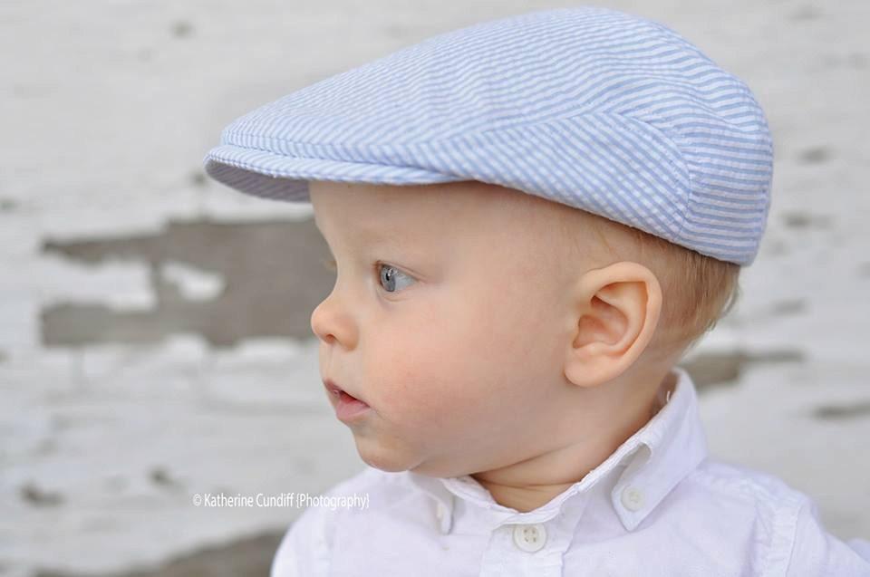 27d7fa584badf Baby hat seersucker newsboy hat light blue seersucker hat