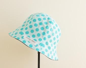 Baby sun hat, baby summer hat, aqua blue polka dot gender neutral sun hat, reversible summer hat, toddler summer hat - made to order