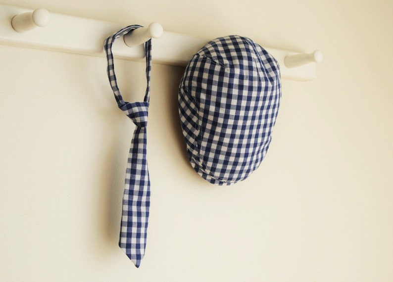 f2de904ac 3 months photo prop, navy gingham check flat cap set for baby boy, shower  gift idea - made to order