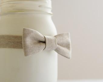 Khaki linen bow tie,  flax color linen baby bow tie, Khaki bow tie, Spring baby prop bow tie  - made to order