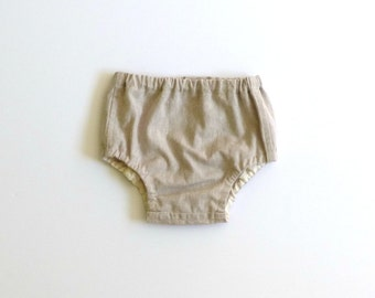 Cotton linen khaki diaper cover, boy bloomer, infant boy spring outfit, boy baby diaper cover, newborn baby bloomers  - made to order